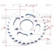 JUNAK M11/M11 Cafe/M25 125CCM/320CCM/250CCM ZĘBATKA Z-32 (do łańcucha H530) NAPĘDOWA TYŁ (wew.58mm / 4 otwory / rozstaw śrub 63mm)